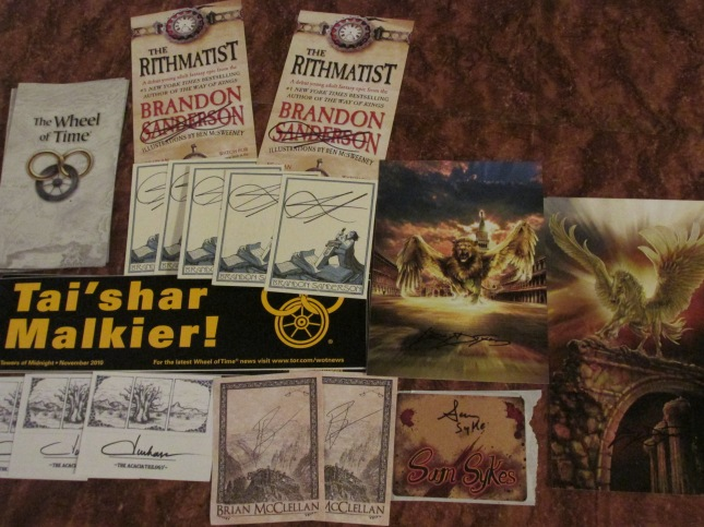 Not pictured (still in the mail):  Jim Butcher bookplates 2 Sam Sykes bookplates